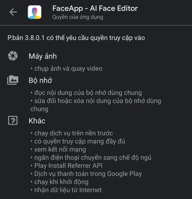 FaceApp yêu cầu nhiều quyền, một số trong đó vượt quá giới hạn của ứng dụng chỉnh sửa ảnh. Ảnh: Trọng Hưng