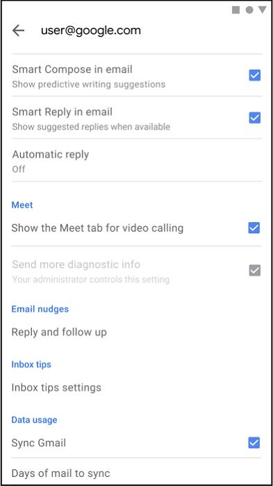 Nếu bạn không muốn tab Meet xuất hiện trong ứng dụng Gmail, hãy truy cập Settings từ menu ở góc trên cùng bên trái của hộp thư, nhấn vào tài khoản của bạn, cuộn xuống và bỏ dấu tích chọn Meet.
