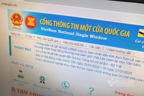 Cổng thông tin một cửa quốc gia tại địa chỉ vnsw.gov.vn. Ảnh: Trọng Đạt