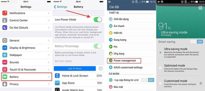 Trên Android để tắt tiết kiệm pin bạn vô Cài đặt> Pin > Tắt trình tiết kiệm pin. Trên iPhone bạn vào Cài đặt > Pin> Tắt chế độ nguồn điện thấp. Do ốp lưng