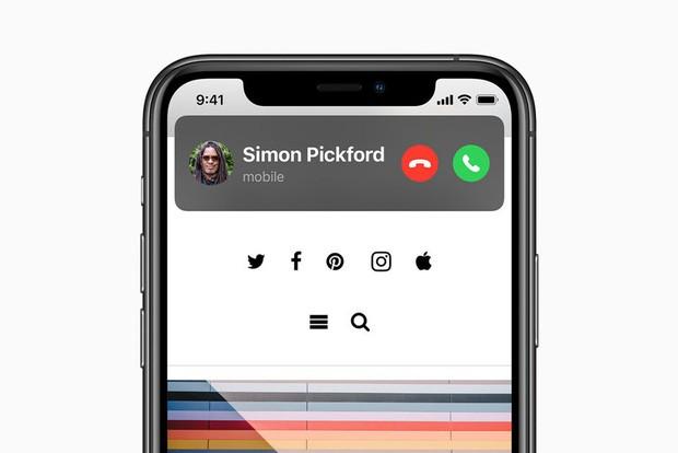Cuộc gọi đến sẽ hiển thị góc nhỏ trên màn hình