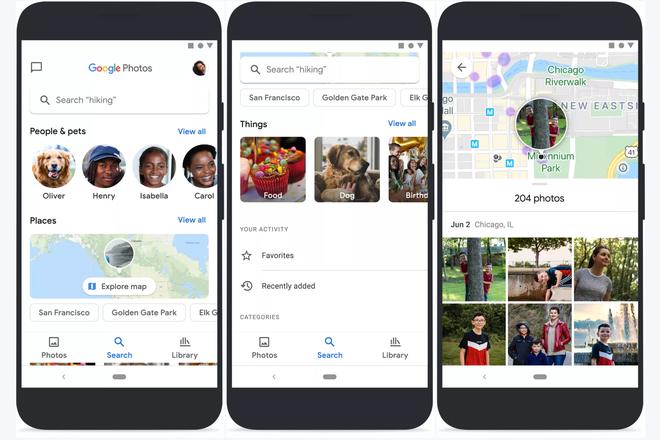 Giao diện tìm kiếm và logo mới của Google Photos. Ảnh: Google
