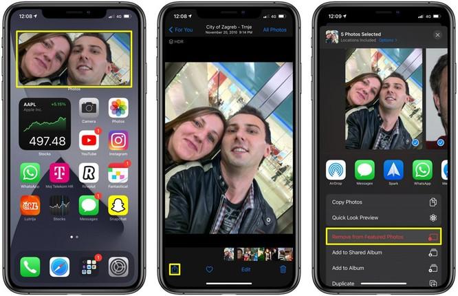 Quay lại màn hình chính và bạn sẽ thấy tấm ảnh bạn chọn không còn hiển thị trên widget Photos (Ảnh).