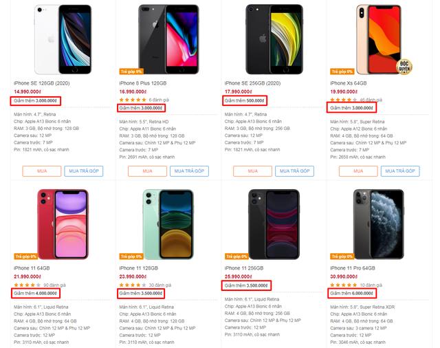 Một số cửa hàng uy tín đã giảm giá các iPhone mẫu cũ trên trang web.
