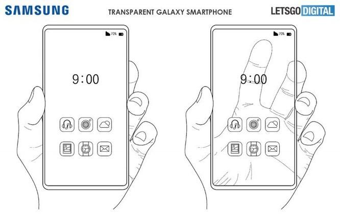 Sáng chế mô tả smartphone có màn hình trong suốt của Samsung.
