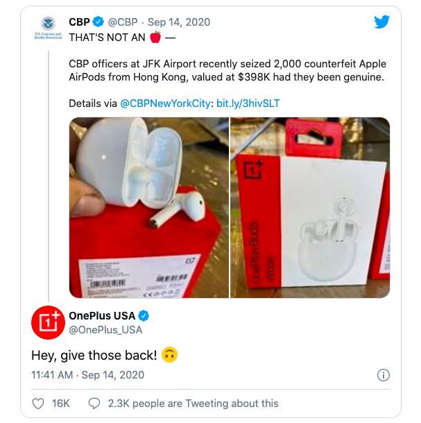 Hình ảnh tai nghe OnePlus Buds đăng trên Twitter của CBP và phản hồi của OnePlus Mỹ.