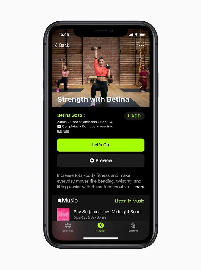 Fitness+ sẽ tích hợp tốt hơn với các dịch vụ có sẵn của Apple như Apple Music. Ảnh: Apple.