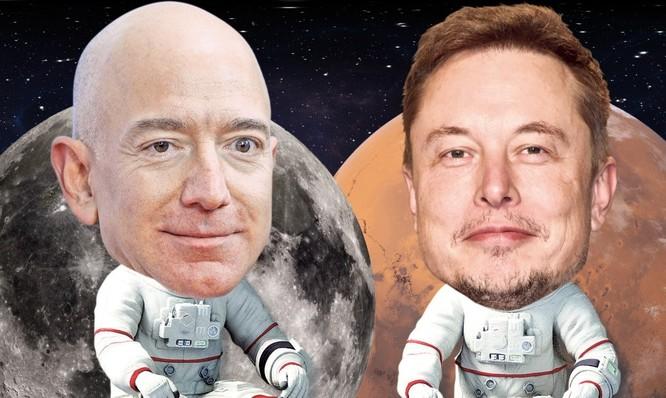 Bezos và Musk đang thúc đẩy thám hiểm không gian. Ảnh: New York Post.