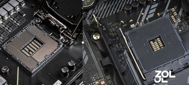 Trong ảnh trên, bên trái là bo mạch chủ Intel với các chân cắm và bên phải là bo mạch chủ AMD với các chân cắm có thể chèn được.