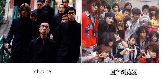 Một meme so sánh Chrome và các trình duyệt khác tại Trung Quốc.