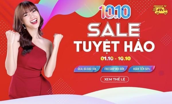 Một sàn TMĐT chạy sales dịp 10/10.