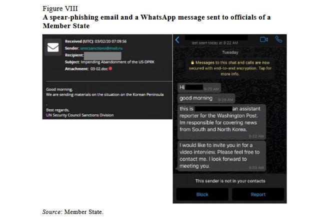 Email và tin nhắn Whatsapp của tin tặc gửi cho các quan chức LHQ