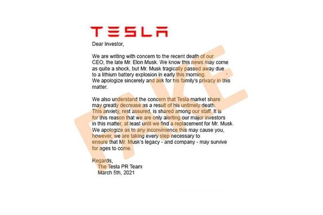 Loan tin Elon Musk qua đời để thao túng cổ phiếu Tesla ảnh 1