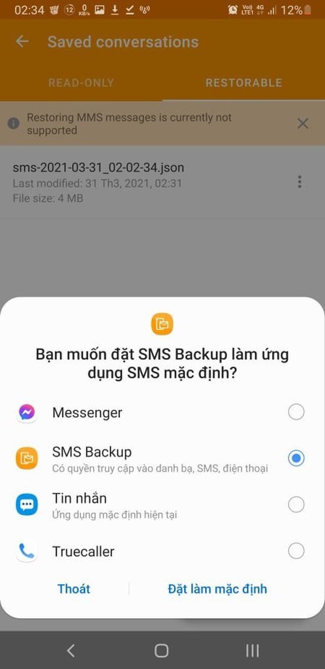 Thủ thuật giúp sao lưu và phục hồi toàn bộ tin nhắn trên smartphone ảnh 5