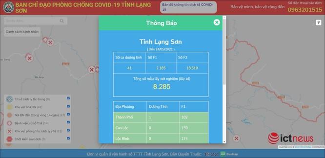 Lạng Sơn ra mắt bản đồ Covid-19 cập nhật tình hình dịch theo thời gian thực ảnh 1