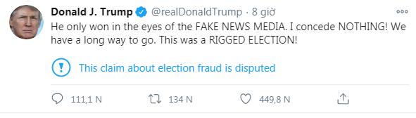 """Tổng thống Trump tố truyền thông Mỹ """"tưởng tượng"""" ra chiến thắng cho ông Biden ảnh 1"""