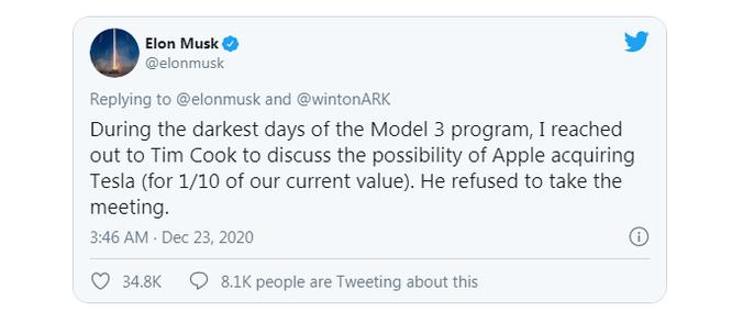 """Elon Musk """"cà khịa"""" Tim Cook trước thông tin Apple muốn sản xuất xe điện tự lái ảnh 1"""