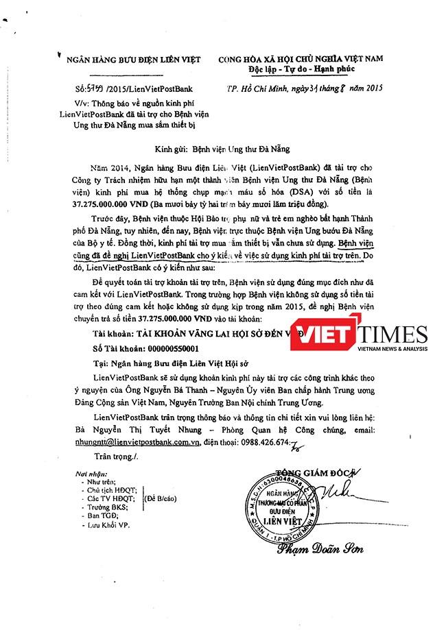 Công văn yêu cầu Bệnh viện Ung thư chuyển trả lại số tiền của Ngân hàng Bưu điện Liên Việt khi số tiền tài trợ không được dùng để mua máy chụp mạch máu số hóa DSA như đã thỏa thuận
