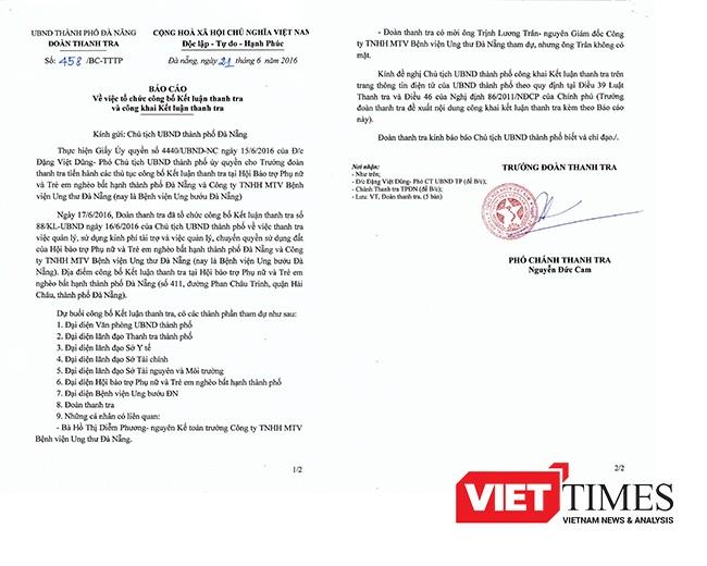 Đà Nẵng, Bệnh viện ung thư, Giám đốc, trả lại tiền tài trợ, Thanh tra, VietTimes