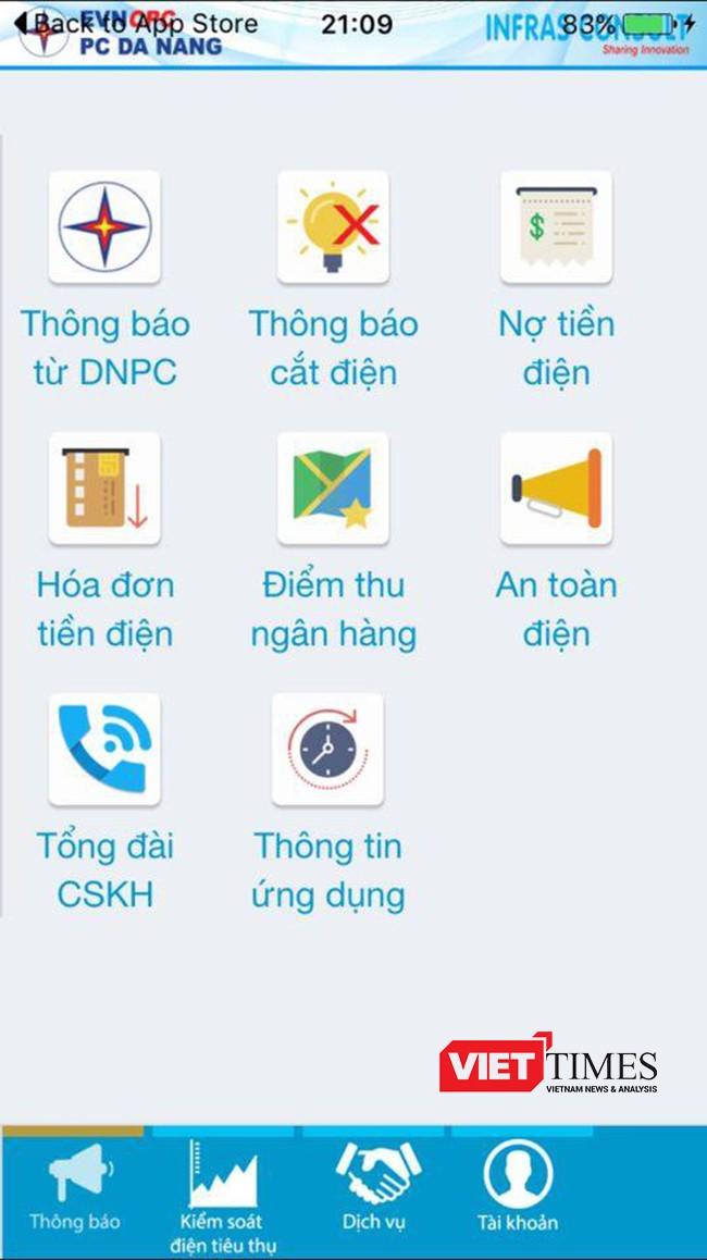 Đà Nẵng, điện lực, ứng dụng, theo dõi, tiền điện, di động, VietTimes