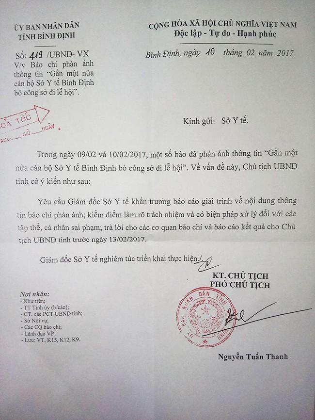 VietTimes, UBND tỉnh Bình Định, công văn hỏa tốc, cơ quan báo chí, xử lý nghiêm, Giám đốc sở Y tế, nghỉ phép đi lễ hội