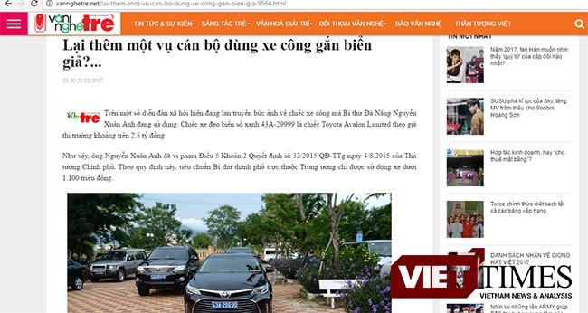 VietTimes, Bí thư Đà Nẵng, Nguyễn Xuân Anh, Thành ủy, thông tin đi xe biển giả, 43A-299.99