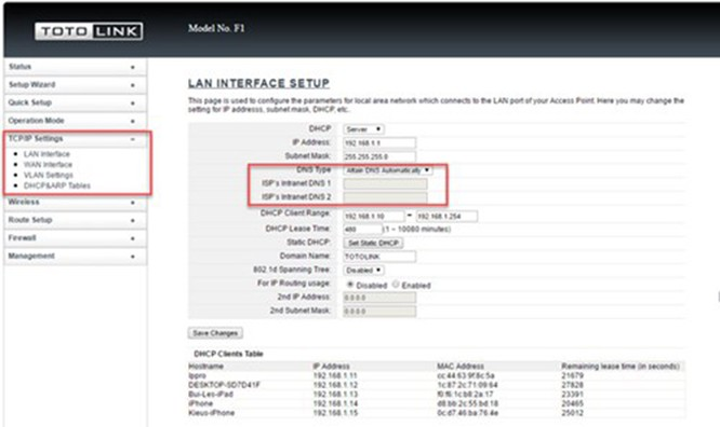 Mỗi router có chức năng tùy chọn DNS riêng. Ví dụ như router Totolink F1, thiết lập DNS trong mục TCP/IP Settings.