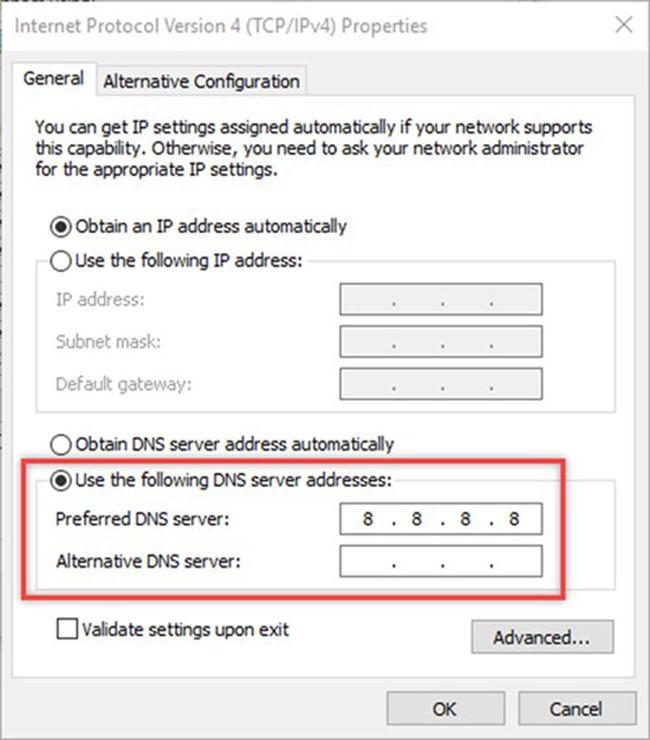 Để không bị lọc nội dung qua OpenDNS, bạn thiết lập lại DNS server trên thiết bị sang 8.8.8.8, là DNS của Google.