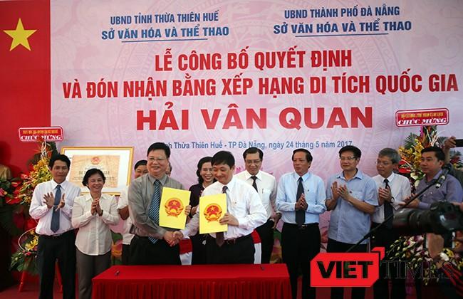 VietTimes, Đà Nẵng, Thừa Thiên Huế, Bằng Di tích văn hóa lịch sử quốc gia, Hải Vân Quan, Bộ VH-TT-DL, công nhận