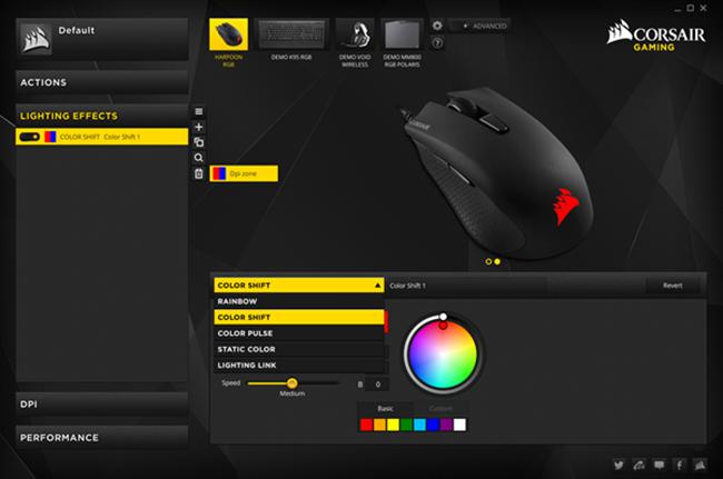 Ứng dụng CUE hỗ trợ tùy chỉnh màu sắc đèn nền LED RGB, DPI và nhiều chức năng khác hỗ trợ game.