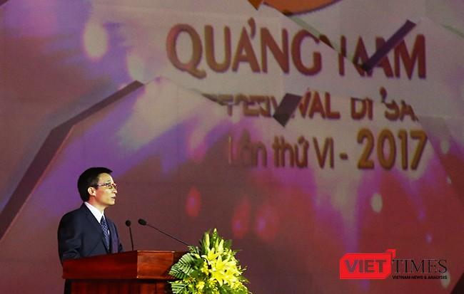 """Phó Thủ tướng Vũ Đức Đam phát biểu khai mạc sự kiện """"Festival Di sản Quảng Nam"""" lần thứ VI năm 2017"""
