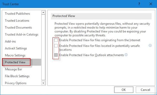 ứng dụng sẽ bật chế độ Protected View để bảo vệ và ngăn chặn các Script (kịch bản) được khởi chạy