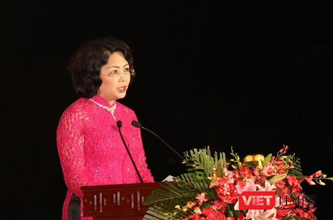 Phó Chủ tịch nước Đặng Thị Ngọc Thịnh phát biểu tại Lễ bế mạc Festival Di sản Quảng Nam lần VI.