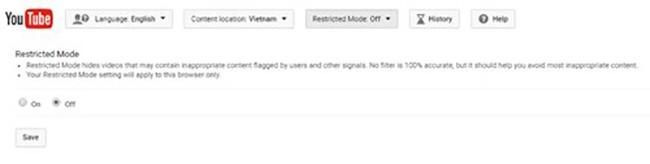 YouTube cũng cho phép người dùng chặn những nội dung không phù hợp với trẻ nhỏ.