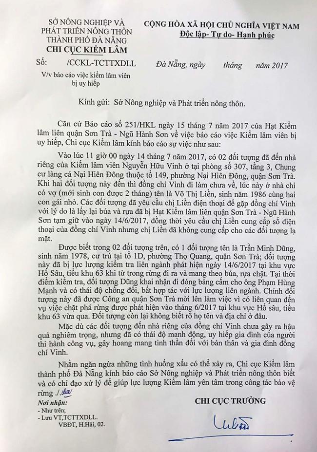 Văn bản của Chi cục Trưởng Kiểm lâm TP Đà Nẵng gửi Sở NN và PTNT TP về việc gia đình kiểm lâm viên bị đe dọa, uy hiếp