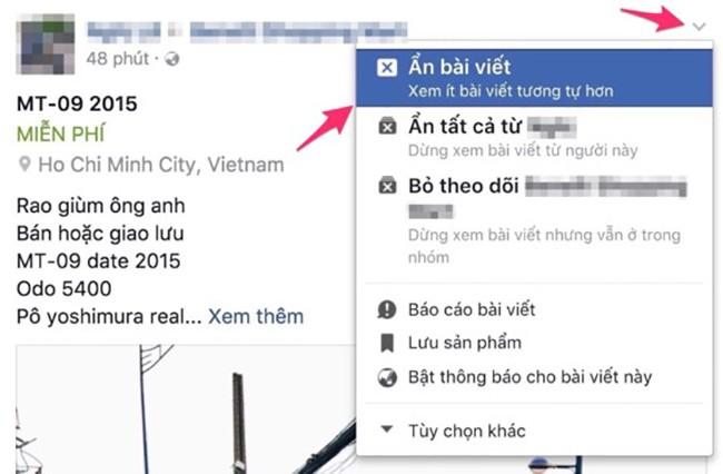 Cách ẩn các bài viết phiền toái trên Facebook ảnh 1