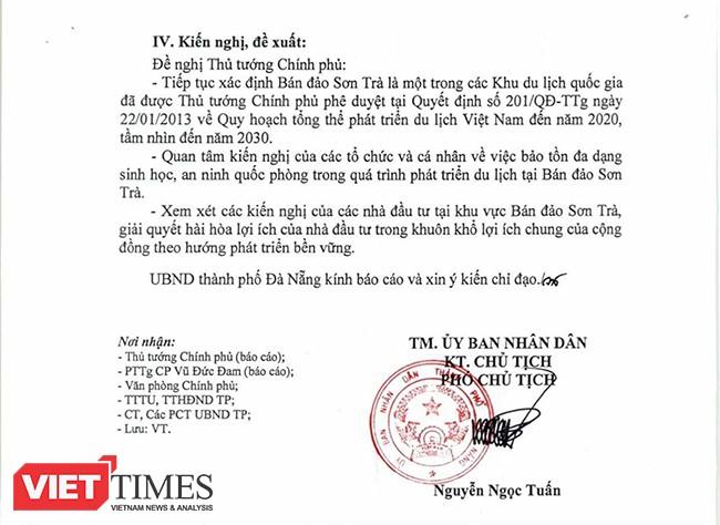 UBND TP Đà Nẵng kiến nghị Thru tướng Chính phủ tiếp tục xác định Sơn Trà là một trong các Khu du lịch quốc gia đã được phê duyệt tại Quyết định 201/QĐ-TTg ngày 22/1/2013 về Quy hoạch tổng thể phát triển du lịch Việt Nam đến 2020, tầm nhìn đến 2030;