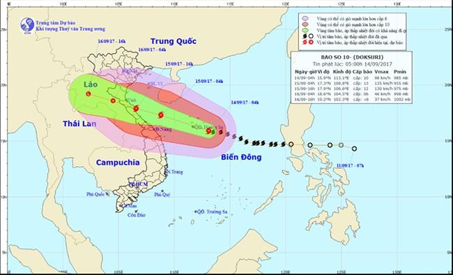 Dự báo đường đi của bão số 10 (ảnh TTDBKTTV TƯ)