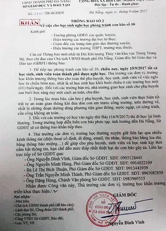 Công văn khẩn cho học sinh trên địa bàn nghỉ học do bão số 10 của Sở GD-ĐT TP Đà Nẵng