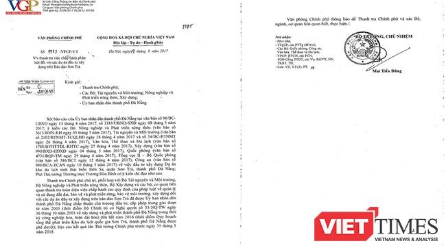 Văn bản chỉ đạo của Phó Thủ tướng Thường trực Trương Hòa Bình giao cho Thanh tra Chính phủ chủ trì, phối hợp với các Bộ, cơ quan điều tra việc chấp hành pháp luật đối với các dự án đầu tư xây dựng trên Bán đảo Sơn Trà.