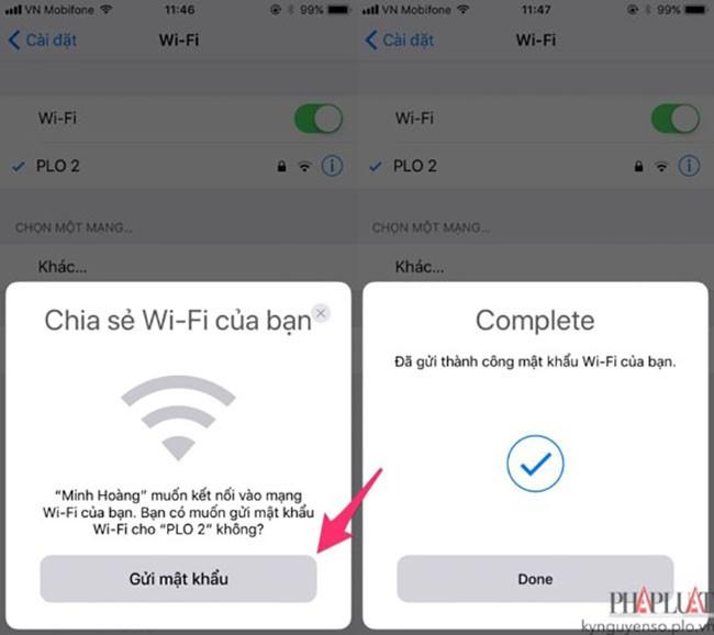 Dễ dàng chia sẻ kết nối WiFi chỉ với một cú chạm