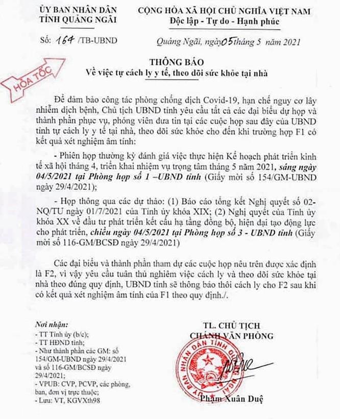 Quảng Ngãi: 8 cán bộ, lãnh đạo tỉnh phải cách ly vì là F1 của ca mắc COVID-19 ở Đà Nẵng ảnh 1