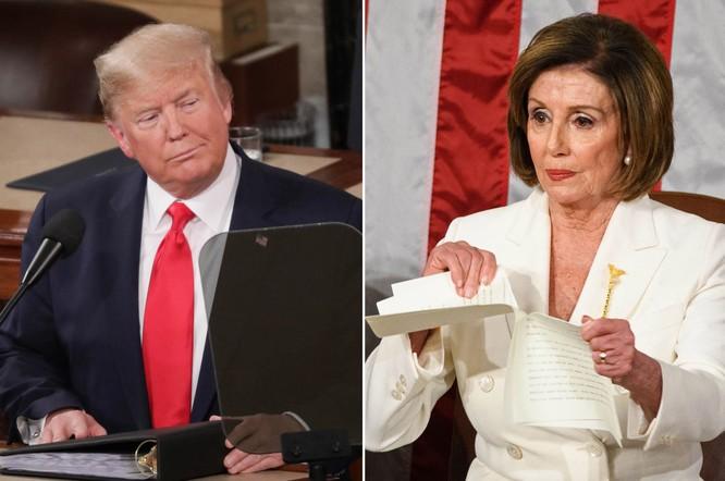 Hình ảnh mang tính biểu tượng về cuộc chiến đảng phái tại Mỹ: Chủ tịch Hạ viện Nancy Pelosi xé bản photo bài phát biểu Thông điệp Liên bang của tổng thống hôm 2/2