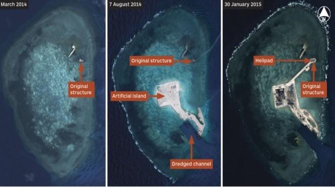 Ảnh vệ tinh chụp Đá Gaven vào các thời điểm 30/3/2-14, tháng 8/2014 và 30/1/2015 ảnh: IHS Jane's