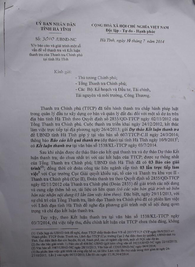 Báo cáo 3010 của tỉnh Hà Tĩnh