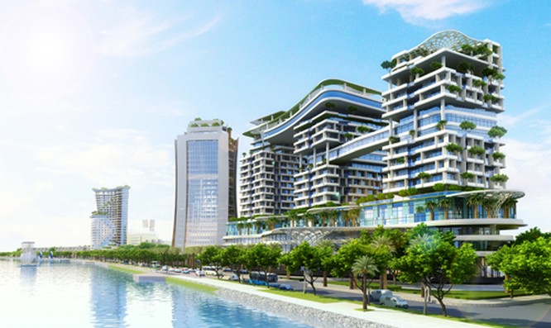 Phối cảnh khu thương mại được xây dựng trên sông Đồng Nai (ảnh internet)