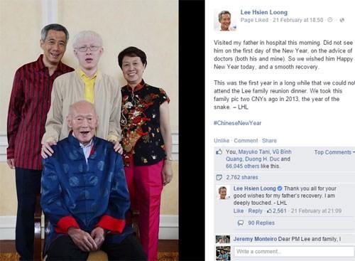 Tiết lộ lần đầu về tình trạng sức khỏe của cha mình trên Facebook của thủ tướng Lý Hiển Long - Ảnh chụp trang Facebook Lee Hsien Loong