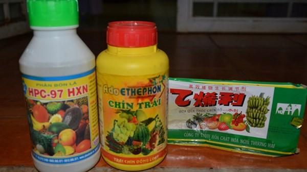 Các loại hóa chất dùng ép chín trái cây.