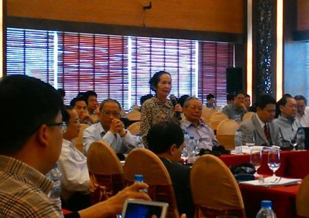 Chuyên gia kinh tế Phạm Chi Lan tại phiên thảo luận về môi trường kinh doanh.