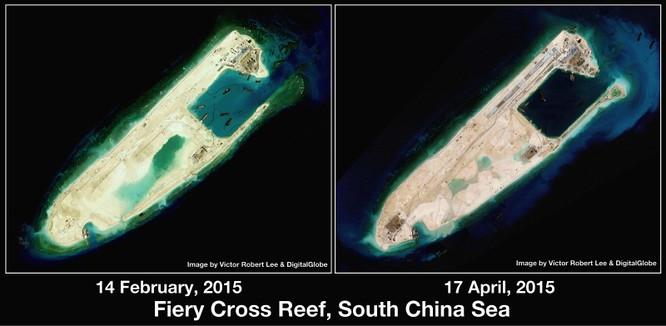 Đá Chữ Thập đã được Trung Quốc mở rộng thành đảo nhân tạo có diện tích lớn nhất tại Trường Sa